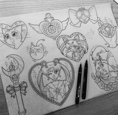 Sailor moon tattoos - i could use these for different craft ideas!