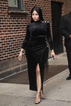 52692352 Nicki Minaj In Balmain - The Late Show With Stephen Colbert - Red Carpet  Fashion Awards