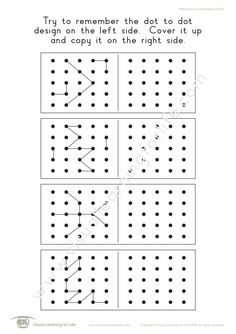 """In the """"Memory Dot Designs (5x5)"""" worksheets, the student must remember the dot to dot design on the left side, so that they can copy it to the right side from memory. Learning For Life, Visual Learning, Visual Memory, Try To Remember, Dots Design, Le Point, Comprehension, Worksheets, Motifs"""