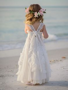 Gorgeous White Flower Girls' Dresses For Wedding 2016 Square Lace Ruffles Kids Formal Wear Sleeveless Long Beach Girl'S Pageant Gowns Dresses For Flower Girl Dresses For Flower Girl In Wedding From &Price; Flower Girl Beach Wedding, Beach Flower Girls, Boho Flower Girl, Wedding Flower Girl Dresses, Bridesmaid Flowers, Boho Wedding, Bridesmaid Dresses, Vintage Flower Girl Dresses, Beach Flowers