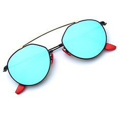 d2b2a5cd5e BNUS Italy made Fashion Round Style Corning Flat Lenses Blue mirrored  Polarized Sunglasses for women (