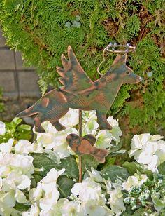 German Shepherd Pet Grave Marker / Metal Garden Art / Pet Memorial / Angel Dog / Copper Art / Garden Plant Stake / Dog Memorial Sign by GardenCopperArt on Etsy