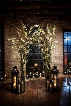 30 Winter Wedding Arches And Altars To Get Inspired: #10. Indoor branches and flowers arch with lots of candle lanterns #churchweddingcandlesdecor #SeptemberWeddingIdeas