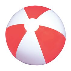 Buy this Red and White Inflatable Beach Ball Made out of high quality rubber featuring red and white panels and professionally sealed for durability.