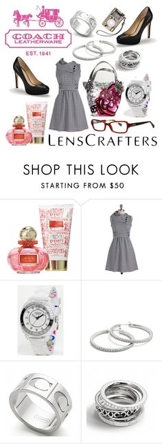 """LensCrafters&Coach"" by emily-doyle70 ❤ liked on Polyvore featuring Coach, poppy, pink, lenscrafters, coach, dress and glasses"