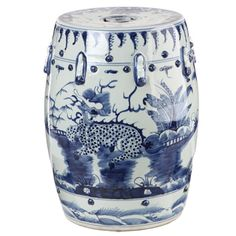 Blue and White Kylin Chinese Porcelain Stool (China) | Overstock.com