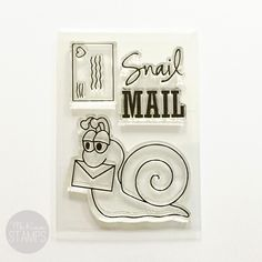 """Image of [RETIRING] Snail Mail 2""""x3"""" Clear Stamp Set"""