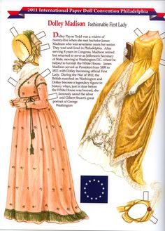 2a6ec497a1 Col Characters Dolley Madison clothes Paper Dolls Clothing