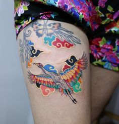 Korean traditional tattoo by Pitta is part of African Mother Nature tattoos - The story about a guy who decided to become a tattooer in high school may seem rather trivial, if you do not take into account the fact that the guy lives in South Korea 16 Tattoo, Crane Tattoo, Tattoo Motive, Leg Tattoos, Body Art Tattoos, Small Tattoos, Sleeve Tattoos, Tatoos, Tattoo Sleeves