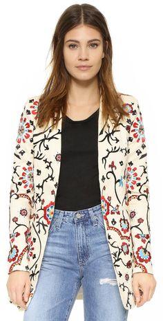 alice + olivia Chriselle Embroidered Long Blazer | SHOPBOP