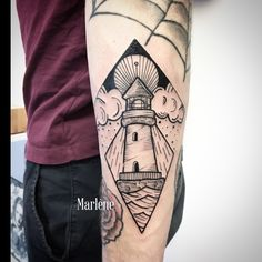 #marlenelecidre #tatouage #tattoo #black #cadre #phare #lighthouse #mer #plage #illustration #graphic #boldline #tattooartist #paris #light #woodcut #engraving