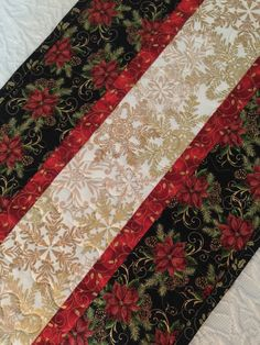 Christmas Table Runner Quilt, Black, Red, White, Gold, Snowflakes, Pointsettia, Floral, Quiltsy Handmade