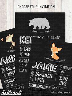 Custom Owl Birthday Invitation, baby shower, blackboard, bear chalkboard, children, kids, woodland friend, jungle animal [Digital Download] by HelloBali on Etsy https://www.etsy.com/listing/225646025/custom-owl-birthday-invitation-baby