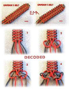 Decoded Paracord Bracelet . Paracord Braids, Paracord Bracelets, Paracord Tutorial, Macrame Tutorial, Scout Knots, Decorative Knots, Knot Braid, Paracord Projects, Friendship Bracelets