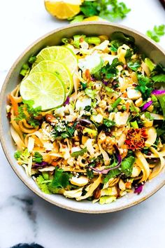 Spicy rice noodle salad - 2 ways cotter crunch- gluten-free recipes. Healthy Salad Recipes, Spicy Recipes, Lunch Recipes, Gluten Free Recipes, Asian Recipes, Vegetarian Recipes, Cooking Recipes, Rice Salad Recipes, Fast Recipes