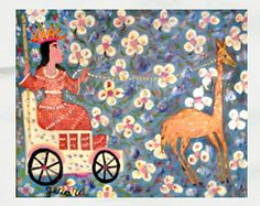 """Queen with Giraffe""....Haitian Painting by Gerard www.galeriebonheur.com"