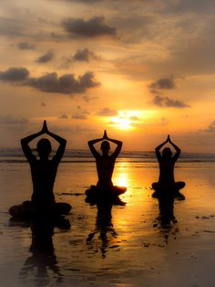 Sunset Yoga by Ruben Roman Denver - People Group/Corporate ( sunset, silhouette, yoga poses, beach, yoga, women on the beach )