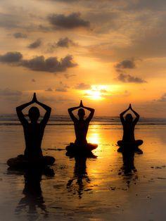 Sunset Yoga by Ruben Roman Denver - People Group/Corporate ( sunset, silhouette, yoga poses, beach, yoga, women on the beach )