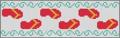 Flip Flop Free Cross Stitch Pattern Summer Reading Bookmark