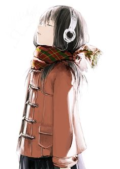 Anime girl with scarf and headphones.