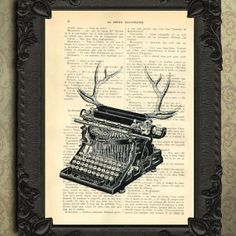 Typewriter Upcycled Recycled Dictionary Home Decor - Deer Antler Art. $7.99, via Etsy.