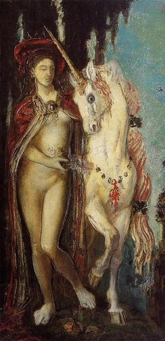 The Unicorn by Gustave Moreau. Not quite as compelling as The Apparition, but just as strangely beautiful.