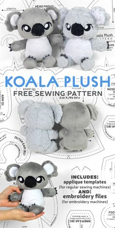 Plushie Patterns, Animal Sewing Patterns, Sewing Patterns Free, Free Sewing, Free Pattern, Sewing Stuffed Animals, Stuffed Animal Patterns, Koala Craft, Machine Embroidery Applique