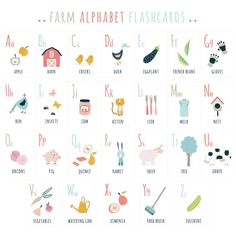 Farm Alphabet cards, educational alphabet flash cards, preschool flashcards, farm animas alphabet cards, printable preschool alphabet cards #montessori #montessoribaby #preschool #alphabet #flashcards Alphabet Cards, Alphabet And Numbers, Alphabet Wall, Learning The Alphabet, Preschool Alphabet, Alphabet Activities, Personalised Photo Cards, Craft Sites, Printable Numbers