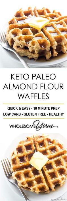 Keto Paleo Almond Flour Waffles Recipe - Gluten Free - These easy keto paleo waf., Food And Drinks, Keto Paleo Almond Flour Waffles Recipe - Gluten Free - These easy keto paleo waffles with almond flour are quick to make, using natural ingredients. Keto Waffle, Waffle Recipes, Pancake Recipes, Crepe Recipes, Waffle Iron, Casserole Recipes, Gluten Free Recipes, Low Carb Recipes, Cooking Recipes
