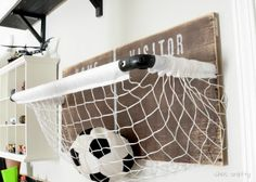 Room: sports net toy storage Basketball Net Storage and Toy. This cute and simple DIY makes storing sports balls easy and fun.Basketball Net Storage and Toy. This cute and simple DIY makes storing sports balls easy and fun. Ball Storage, Toy Storage, Storage Ideas, Storage Basket, Garage Storage, Sports Storage, Playroom Storage, Storage Hacks, Storage Solutions