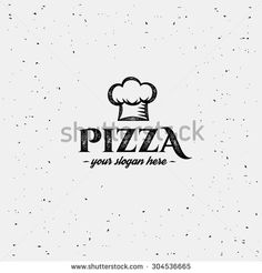 Pizza logo with cap chef. Design template. - stock vector