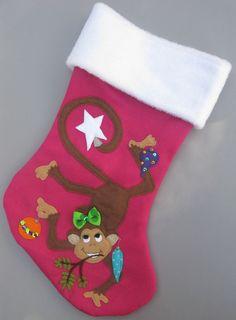 Sweet Monkey Girl Handmade Felt Christmas Stocking