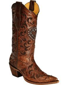 Corral Burnished Goatskin Crystal Heart Cowgirl Boots - Pointed Toe, Cognac