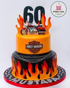 If your a biker then you are going to love this cake. A Harley Davidson biker cake for s birthday. by friddles_cakes Birthday Cakes For Men, Motorcycle Birthday Cakes, Motorcycle Party, Motorcycle Cake, Birthday Cake For Husband, Cake Birthday, Torta Harley Davidson, Harley Davidson Birthday, Bike Cakes