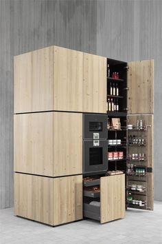 Great cabinet and way to organize & store in a small kitchen loft...