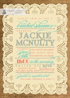 Lace Burlap Bridal Shower Invitation Vintage by digibuddhaPaperie, $23.00