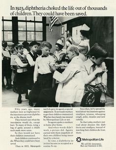 1971 Ad, Metropolitan Life, Diphtheria Epidemic in 1923 | by classic_film via Flickr