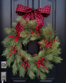 Christmas Wreaths for Front Door, Christmas Wreaths and Swags, Holiday Wreaths, Christmas Pine Wreaths, Black and Red Ribbon - Misc Goodies - Decorations Christmas, Christmas Wreaths For Front Door, Holiday Wreaths, Holiday Crafts, Holiday Decor, Fresh Christmas Wreaths, Rustic Christmas, Christmas Crafts, Christmas Ornaments