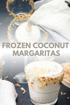 The best coconut margaritas! Frozen coconut margaritas with toasted coconut rim is the perfect margarita recipe for taco tuesday or cinco de mayo. Easy to make frozen margaritas with simple ingredients you can serve by the pitcher. Fancy Drinks, Cocktail Drinks, Alcoholic Drinks, Beverages, Cocktail Recipes, Coconut Tequila, Coconut Margarita, Coconut Drinks, Gourmet
