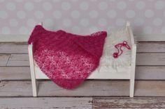 Gehäkelte Decke & Haarband aus Mohair / Crochet blanked