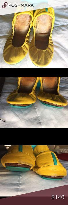 Mustard Tieks Loved mustard Tieks. Slight scuffing on toes and heels (see pics). Soles darkened. Smoke free home. Price firm. Tieks Shoes Flats & Loafers