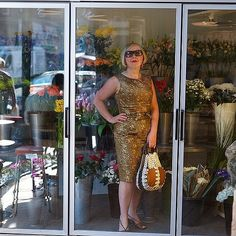 Good morning  I'm standing in a fridge full of beautiful #flowers wearing a #bronze #sixties #vintage #brocade dress as I've just been walking my dogs and it's warm and #sunny again outside today ☀️☀️ I'm also wearing vin