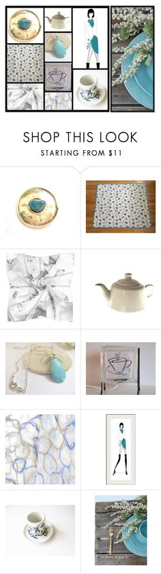 """Blue Pops"" by whimzingers ❤ liked on Polyvore featuring Lazuli, Bjørn Wiinblad, Rustico and vintage"