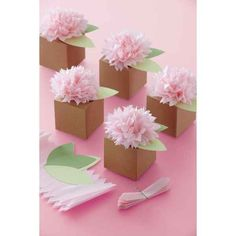 Pink Pom-Pom Flower Treat Boxes | 6pc for $11.00 in Packaging