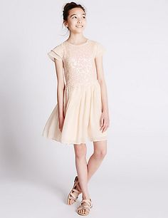 Sequin Embellished Pleated Dress (5-14 Years) | M&S