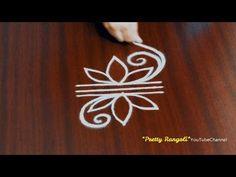 Cute & Small flower kolam rangolis for steps\\door step small rangolis\ freehand muggulu Simple Rangoli Border Designs, Rangoli Designs Flower, Free Hand Rangoli Design, Rangoli Borders, Small Rangoli Design, Rangoli Patterns, Rangoli Ideas, Rangoli Designs Diwali, Rangoli Designs With Dots