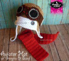 crochet pilot hat | Aviator crochet hat, Baby Pilot Hat with Goggles & Scarf, Photo Prop