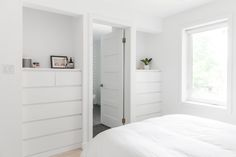 Two Ikea Malm dressers were placed in these nooks to create more floor room.