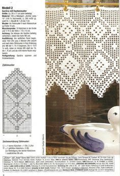 Gardine Filet häkeln  ...  crochet - cortinas - curtains                                                                                                                                                     Más