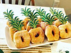 Dessert table ideas & dessert toppers for your next tropical tiki chic party. Pineapple crown, pineapple food pick, donut pineapple, pineapple cupcake topper, tropical theme, summer party by FunOnPaper on Etsy